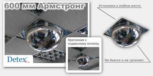 Купольное зеркало типа Армстронг Ø 600 мм